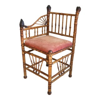 19th Century English Burnt Bamboo Corner Chair For Sale