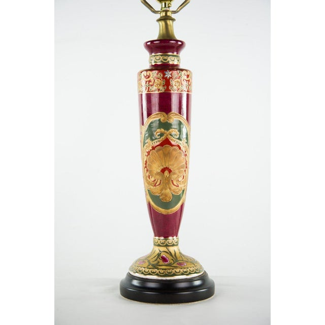 Early 20th Century Antique Red Porcelain Vase Table Lamp For Sale - Image 5 of 11