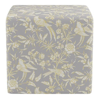 Cube Ottoman in Grey Aviary By Scalamandre For Sale