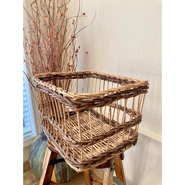 Crisscross Open Weave Handwoven Rattan & Willow Basket by Three Hands - Circa 1990 For Sale In Kansas City - Image 6 of 13