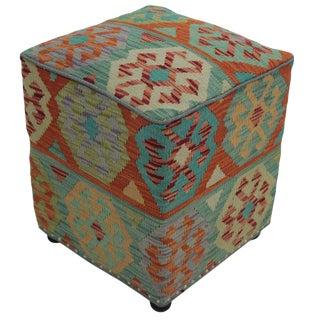"Boho Chic Chambers Teal/Orange Handmade Kilim Upholstered Ottoman - 16""x16""x20"" For Sale"