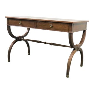 Regency John Widdicomb X Base Walnut Writing Desk For Sale