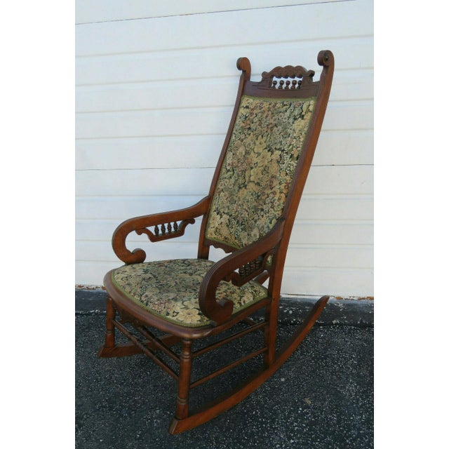 Traditional 19th Century Victorian Carved Side Rocking Chair For Sale - Image 3 of 11