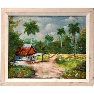 """1950s Vintage """"Sans Titre"""" Cuban Landscape Oil Painting on Canvas by R. Martinez For Sale"""