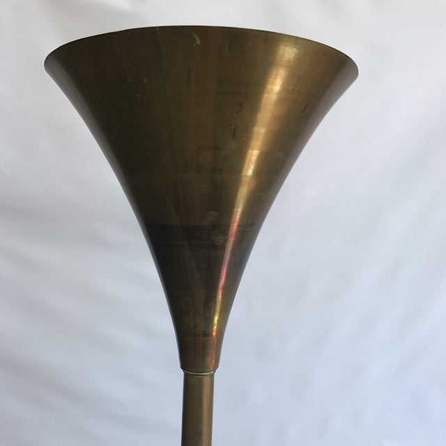 Vintage Brass Torchiere Floor Lamp For Sale - Image 5 of 7