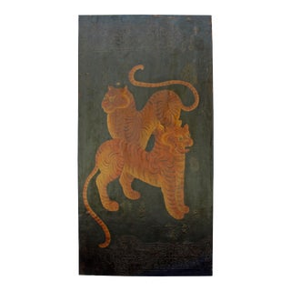 Chinese Tibetan Vintage Double Tigers Graphic Wood Wall Panel