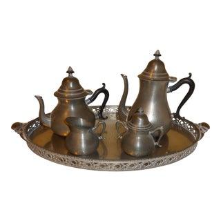 Vintage Royal Holland Five Piece Pewter Tea Set & Platter - Set of 5 For Sale