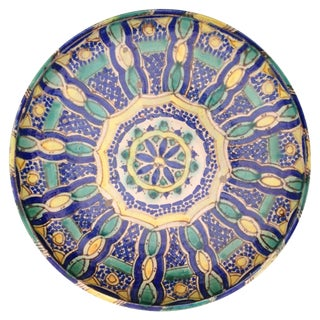 1940s Hand Painted Moroccan Platter For Sale