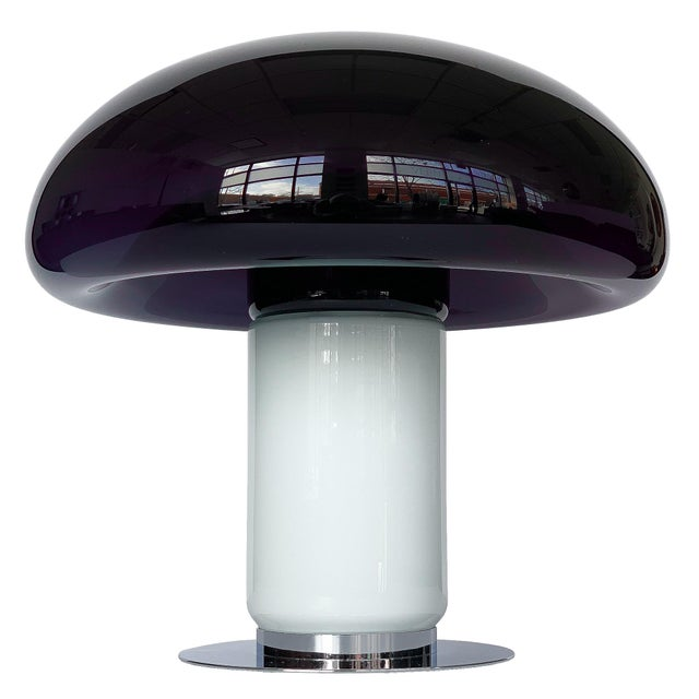 Vistosi Purple / Amethyst Murano Glass Mushroom Table Lamp For Sale - Image 13 of 13