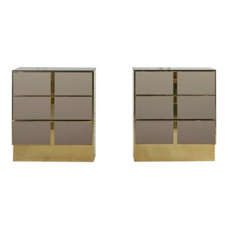 Bronze Mirrored and Brass Nightstands or Side Tables by Ello - A Pair For Sale