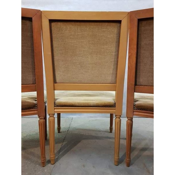 Set of Five French Louis XVI Square Back Vintage Dining Chairs 4 Side Chairs and 1 Armchair For Sale - Image 10 of 13