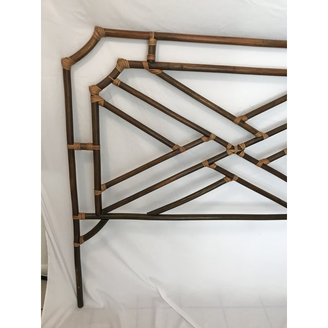 Asian Vintage Chippendale Double or Queen Bamboo Pagoda Headboard For Sale - Image 3 of 9