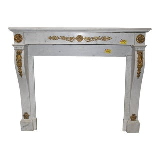 French, Louis XVI Style Marble Mantel with Bronze Mounts For Sale