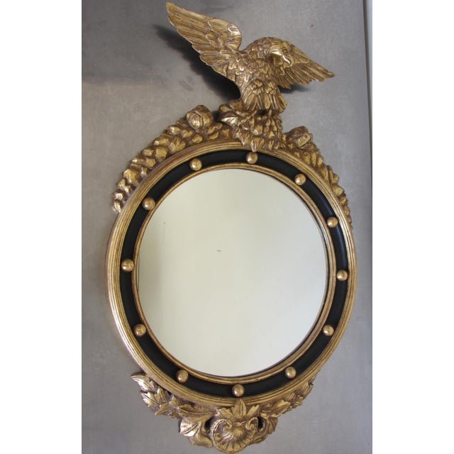 Gold Hand Carved Gold Gilt Mirror With Eagle Crest For Sale - Image 8 of 9