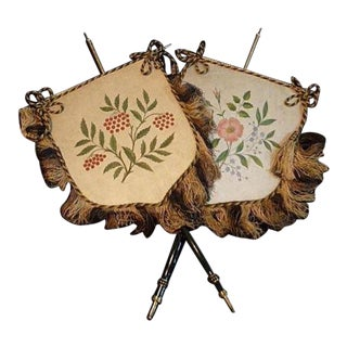 Antique Face Screens Silk With Fringe / Victorian Hand Painted Pair With Flowers / Porcelain Brass Holders Fireplace Design 19c/ For Sale