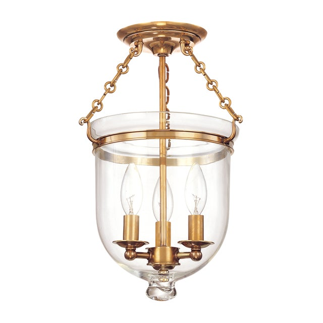 Mid-Century Modern Hampton 3 Light Semi Flush - Aged Brass For Sale - Image 3 of 3