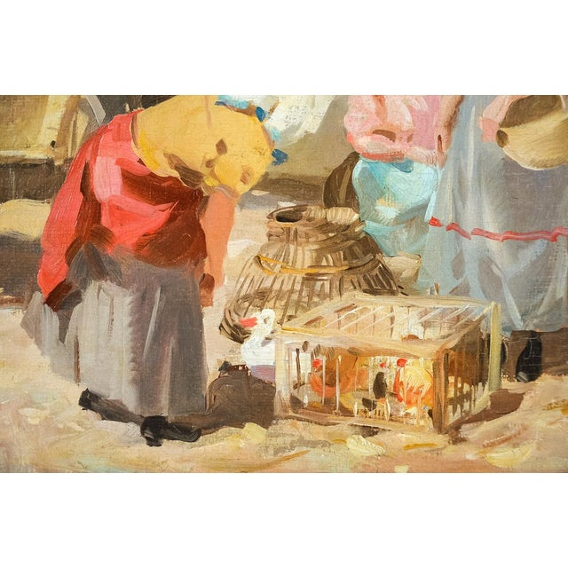 Gyula Nemeth -Women at an Outdoor Market- Hungarian Oil Painting C.1910 For Sale In Los Angeles - Image 6 of 8