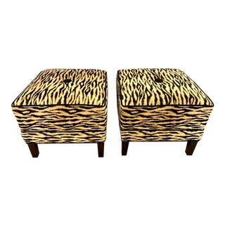 Pair of Zebra Print Upholstered Square Ottomans For Sale