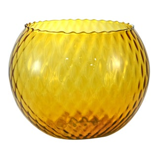 Amber Empoli Mid-Century Modern Optic Glass Ball Vase