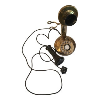 1930s Traditional Brass Candlestick Rotary Phone For Sale