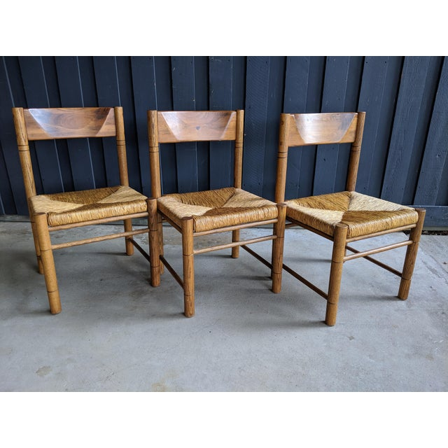 1970s Charlotte Perriand-Style Vico Magistretti-Style Rush Chairs, Set of 8 For Sale - Image 5 of 12