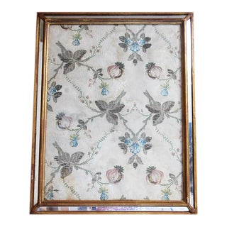 18th Century Antique Portuguese Pomegranates Silk Embroidery Fragment Framed For Sale