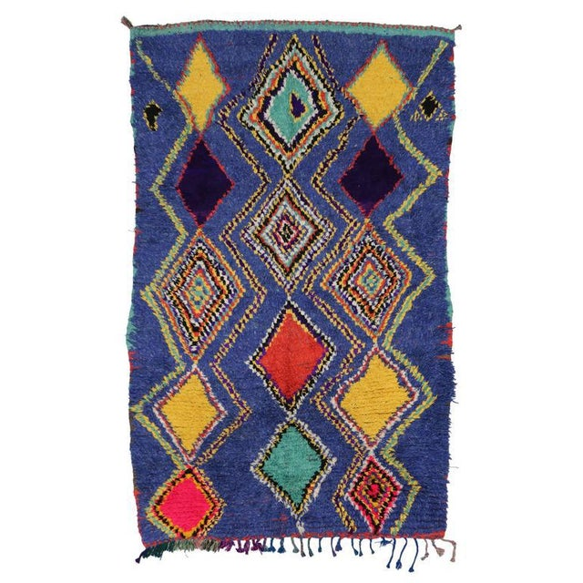 "Textile Vintage Berber Moroccan Tribal Diamond Rug - 4'8"" X 7'3"" For Sale - Image 7 of 9"