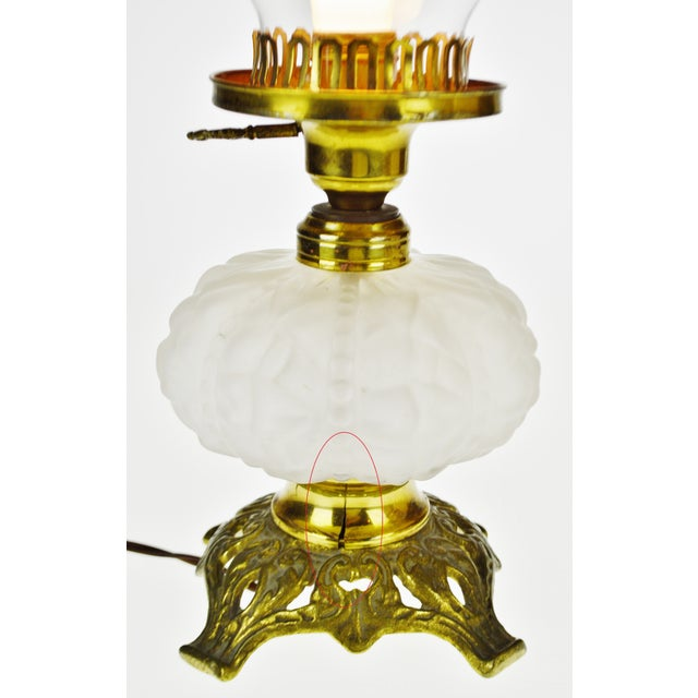 Vintage Electrified Frosted Glass Oil Lamp For Sale - Image 4 of 13