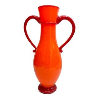Tall Amphora Art Glass Vase Signed For Sale