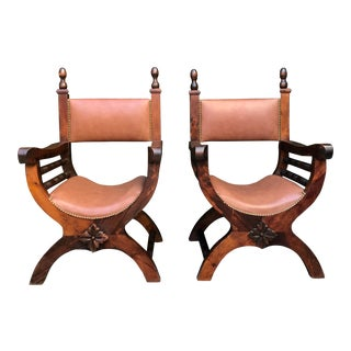 20th-Century English Traditional Leather Carved Chairs - a Pair For Sale
