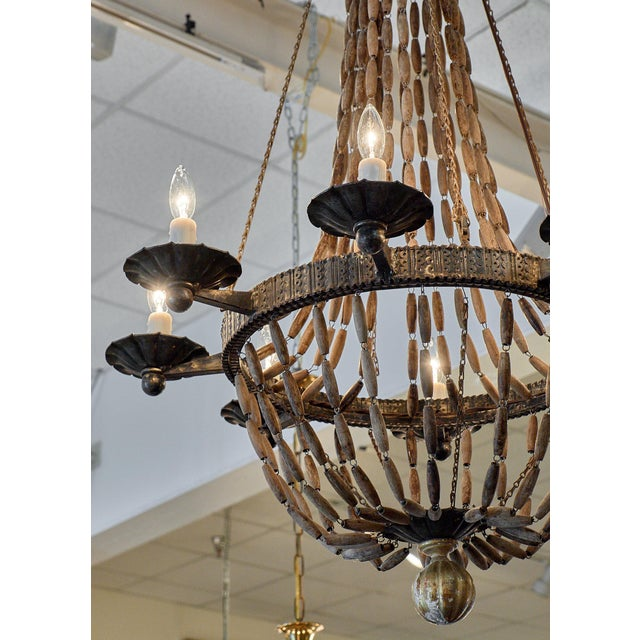 Vintage Italian Wooden Chandelier For Sale - Image 4 of 10