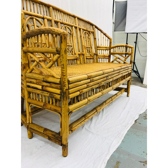 Bamboo Vintage Chinese Chippendale Bamboo & Cane Settee For Sale - Image 7 of 13