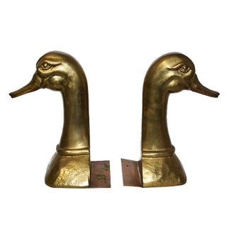 Mid 20th Century Mid Century Modern Gold Brass Duck Bookends - a Pair Preview
