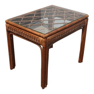 Vintage Mid Century Modern Rustic Bamboo Rattan Brown End Table Tiki Palm Beach Style For Sale
