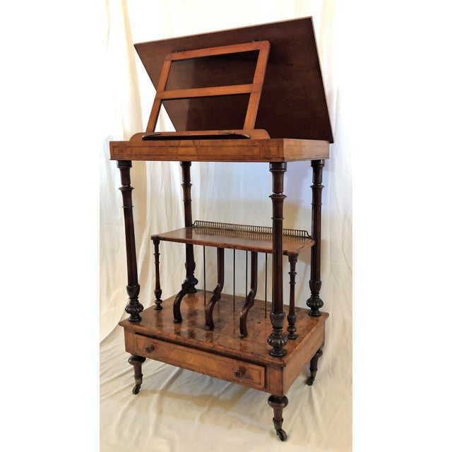 Wood Antique English Walnut Canterbury and Music Stand, Circa 1870-1880. For Sale - Image 7 of 7