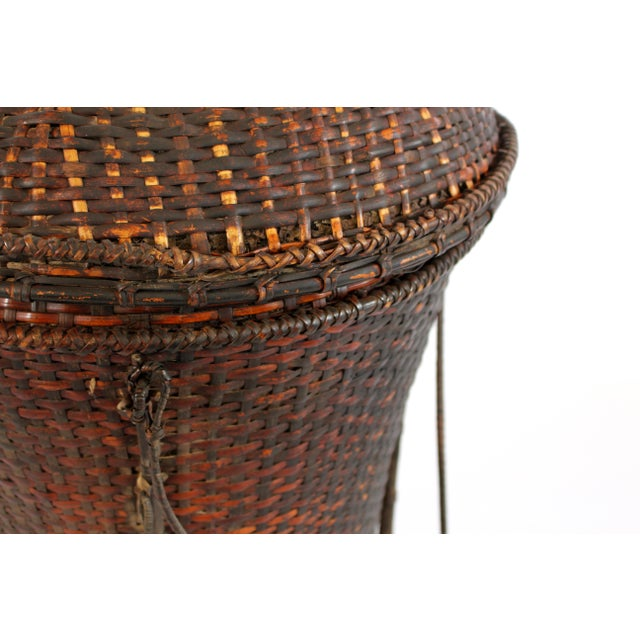 Woven Storage Basket with Lid For Sale - Image 10 of 10