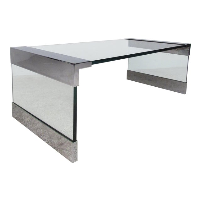 Mid-Century Modern Chrome and Glass Coffee Table After Pace For Sale
