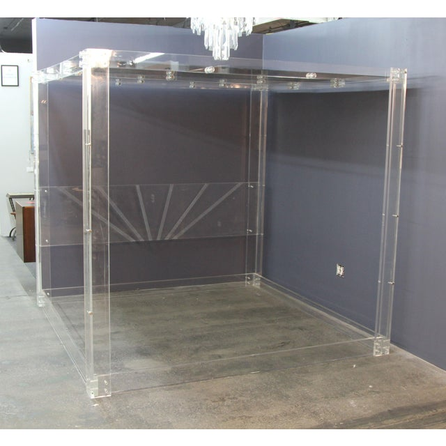 Lucite and Mirrored Top King Size Bed For Sale - Image 5 of 11