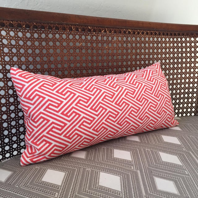Contemporary Flamingo Orange Graphic Geometric Kidney Pillow Cover For Sale - Image 3 of 6
