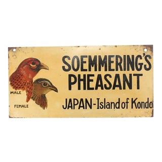 """1930s Vintage """"Soemmering's Pheasant"""" Hand-Painted Sign For Sale"""