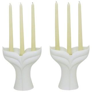Pair of Uta Feyl White Matte Porcelain Candelabrum for Rosenthal Studio Linie For Sale