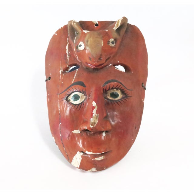 Red Wood Carved Mask - Image 2 of 6