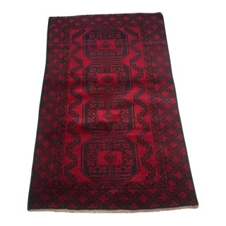 1950s Boho Chic Red Afghani Baluch - 2'11 X 4'10 For Sale