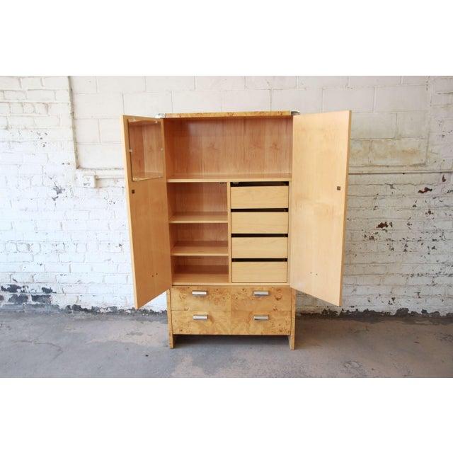 Leon Rosen for Pace Burled Olive Wood and Chrome Wardrobe Dresser - Image 6 of 13