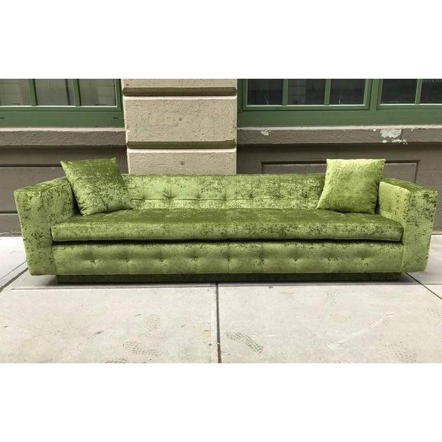 Mid-Century Modern Custom Tufted Green Velvet Sofa Flavor Custom Design For Sale - Image 3 of 8