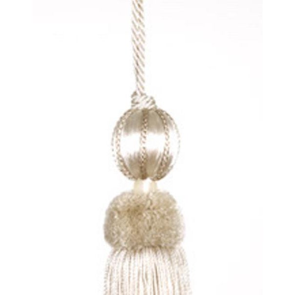 Elegant beaded key tassel in a light cream and ivory color. Each ornamental key tassels is connected by a twisted cord...