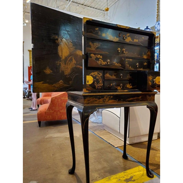 Black 19th Century Japanese Tea Cabinet on Stand - 2 Pieces For Sale - Image 8 of 10