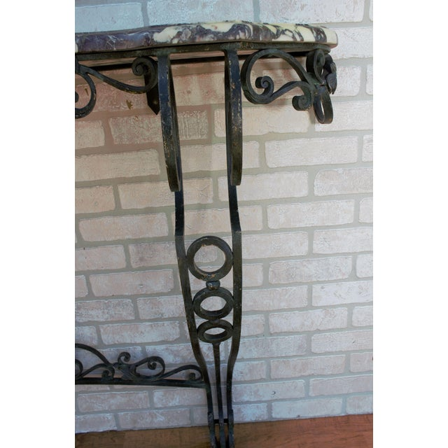 Antique French Victorian Wrought Iron Base Console Table For Sale - Image 10 of 13