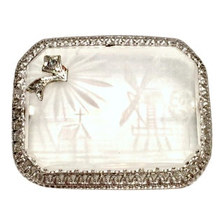 Antique Etched Rock Crystal & Diamond Platinum Set Filagree Brooch For Sale
