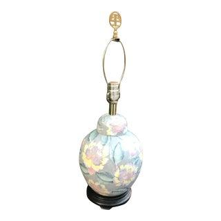 Vintage Chinoiserie Floral Motif Ginger Jar Lamp For Sale